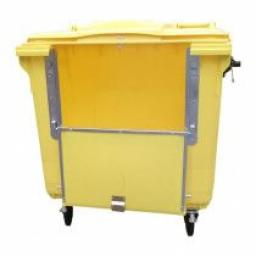 Yellow 770 Litre Wheelie Bin c/w Lid Lock & Drop Front